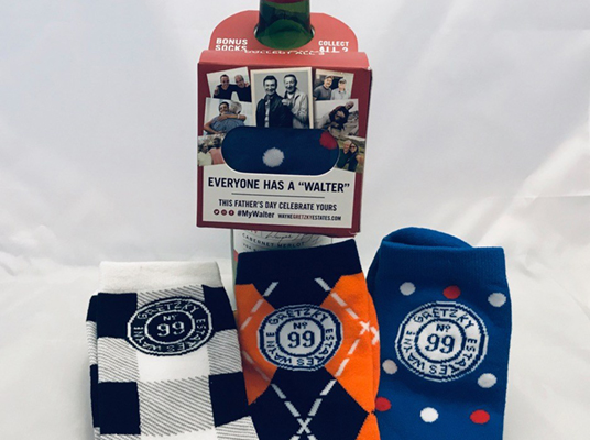 White labels and sock promotional gear for Gretzky's Wine & Whisky