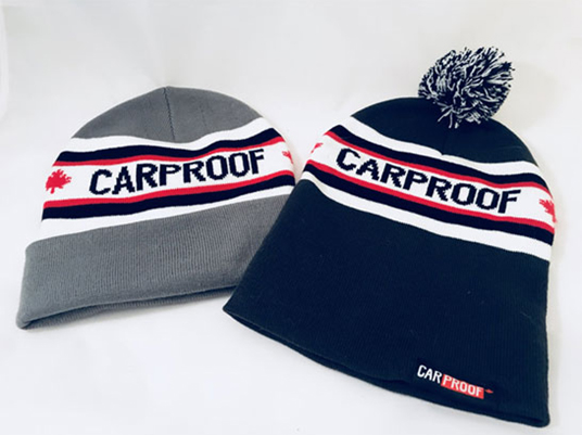 Promotional winter hates for Carproof