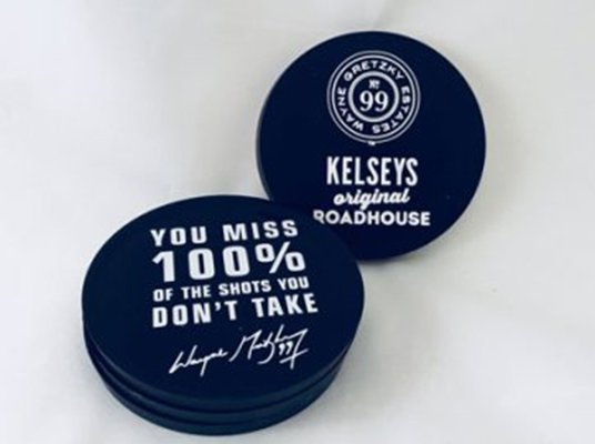 Hockey Puck Coasters for Kelsey's Original Roadhouse